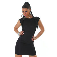 Sexy Kurzarm Etui  Kleid Minikleid Rückenfrei mit Spitze Schwarz Gr. M / L 36 38
