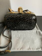 AUTHENTIC ALEXANDER MCQUEEN BLACK SKULL CLUTCH WITH STRAP