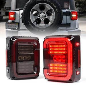 Xprite Smoke LED Tail Lights Rear Running Reverse for 2007-2018 Jeep Wrangler JK