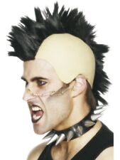 1980's Black Mohican Wig Adult Mens Smiffys Fancy Dress Costume