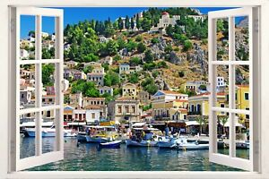 Symi Dodecanese Greece Greek 3D Effect Window Canvas Picture Wall Art Prints