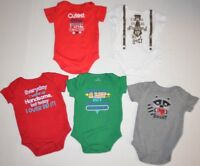 LOT of 5 Baby Boys Graphic Tee Shirts One-Piece Union-suits Jumpers size 0-3M