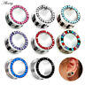 2pc Ear Gauges Stainless Steel Clear CZ Gem Tunnels Screw Fit Ear Plugs Piercing