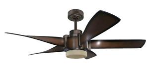 """Kichler 35153A Mediterranean Walnut 5 Blade 52"""" LED Ceiling Fan"""