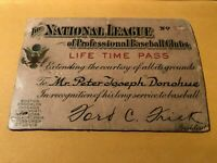 RARE VINTAGE MLB PAPER BASEBALL LIFETIME PASS PETER PETE DONOHUE REDS GIANTS SOX