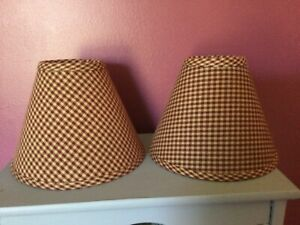 2 Country Primitive Burgundy Red Small Plaid Homespun Fabric Lamp Shades