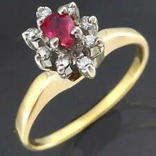 High Setting Solid 18k GOLD RUBY & 8 DIAMOND CLUSTER RING Smaller Sz J1/2