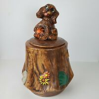 Vintage Cookie Jar California Original Dog Sitting On Tree Stump Ceramic