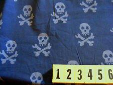 Cotton Fabric - Grey Skull and Cross Bones -With 150cm New by Dcf