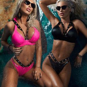 By Alina Badeanzug PUSH-UP Neckholder Bikini Set Oberteil Hose Swimsuit XS-M