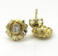 1 Grams Mens Ladies 10k Real Yellow Gold Cluster Nugget mini Earrings Studs
