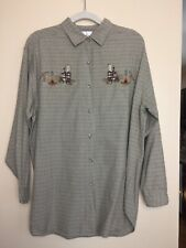 Carolina Colours Plaid Shirt Cotton Embroidered  Womens LargeBears Camping Brown