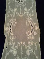 LACE SCARF Antiq Decorative White Lace Tulle w Ornamental Stitching Runner/Scarf