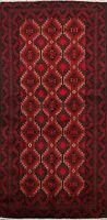 Geometric Balouch Afghan Oriental Tribal Area Rug Hand-knotted Foyer Carpet 3x6