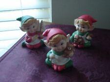 Vintage Homco Set of 3 Porcelain Elf Pixie Santa's Helpers Figurines #5253
