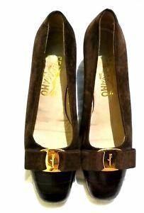 Salvatore Ferragamo Brown Suede Leather Captoe Vara Bow Shoes Sz5C