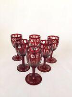 Vintage Bohemian Czech Ruby Cut to Clear Cordial Glass Castle & Birds ~ Set of 6