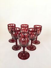 Vintage Bohemian Czech Ruby Cut to Clear Set of Cordial Glasses Castle & Birds