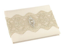 Gold Lace Guest Book and Pen Ivory Wedding
