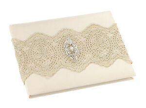 Gold Lace Guest Book and Pen Ivory Wedding or any event guest signing