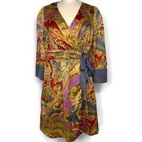 Anthropologie Lilka Women's Yellow Grey Red Pink Design Wrap Dress, Size Medium