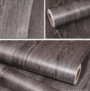Peel and Stick Dark Grey Wood Wallpaper Contact Paper Film Home Decor Waterproof