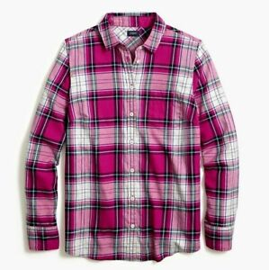J Crew Plaid Women's Flannel Glen Plaid Shirt Size 2X Hot Pink Button Down NWT