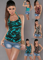 Top Women Blouse Ladies Sexy Clubbing Party Camouflage Sexy Shirt size 6 8 10 12