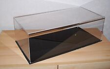 ACRYLIC PERSPEX DISPLAY CASE FOR MODELS    600 X 300 X 200 BLACK OR WHITE BASE