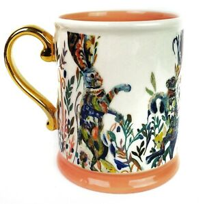 Dancing Hares Starla M Halfman Anthropologie Tea Coffee Rabbit Mug Cup Retired