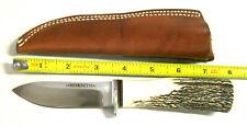Vintage Morseth 1991 Stag Hunting Knife & Leather Sheath