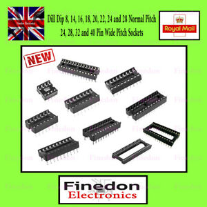 DIL DIP IC Sockets Adaptor Solder Type 8 14 16 18 20 24 28 32 40 Pin Narrow Wide