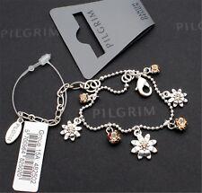 Pilgrim Flower Daisy Charm Bracelet Silver Caramel Topaz Brown Swarovski