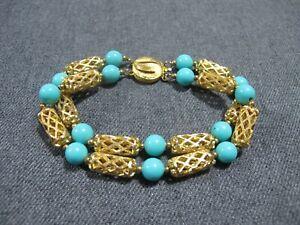 Vintage turquoise plastic beads & filigree goldtone metal 2 strands bracelet