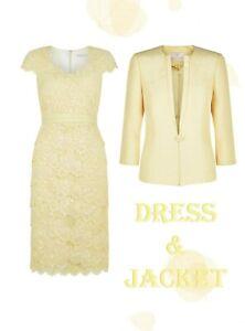 10/12 Jacques Vert Tiered Lace Dress Jacket Lemon Yellow Mother of Bride Suit