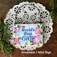 GiGi Wood Ornament * DECO Mini Sign Plaque Gi Gi GG Gift USA