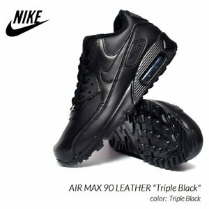 Nike Air Max 90 Black Leather Sneakers for Men for Sale ...