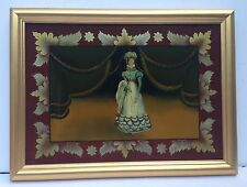 Antique Reverse  Glass Painting   Victorian Royal Female in Gold Wood Frame