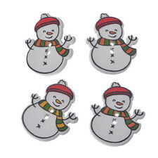 30 Christmas Snowman Shaped 2 Holes Wooden Buttons Sewing DIY Scrapbooking Card