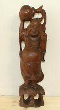 Vintage Asian hand carving wood statuette Budai Laughing Buddha