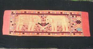 Laos Hilltribe Antique TRIBAL Textile ELEPHANT WEDDING BLANKET GOLD 2.5M RARE