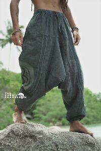 Stonewash Harem Pants Mens Grey Hippie Distressed Yoga Festival Om Ohm Festival