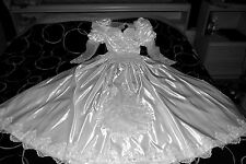 Vintage White Wedding Dress Bow Veil Tulle Puffy Pearl Heavy Silk Satin Bridal