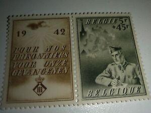Free shipping ***BELGIUM SERIE WAR 1942 MNH. SETENANT.PRO-PRISONERS OF WAR