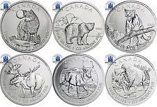 6 x Canada 5 dollari ARGENTO 2011 - 2013 Serie Wildlife: Set di completo in capsule