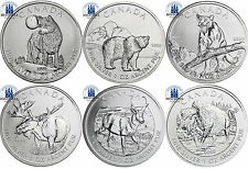 6 x Kanada 5 Dollar Silber 2011 - 2013 Wildlife Serie: Komplett Satz in Kapseln