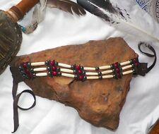 Native American Bone Choker Hematite Stone Beads Cherokee Regalia