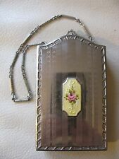 Antique Art Deco Silver Yellow Guilloche Dance Card PERFUME DOUBLE Compact DFBCo