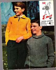 Vintage Emu  Knitting Pattern, Boys Zipped Jackets, 740,  30-36in