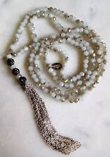 """Stunning Signed 46"""" Hand Knotted Faceted Glass Bead Necklace w/ Tassel"""